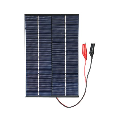 4.2W 18V Polycrystalline Silicon Solar Panel with Alligator Clips Solar Cell for DIY Power ()