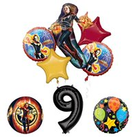 Mayflower Products Captain Marvel 9th Birthday Party Supplies Jubilee and Orbz Balloon Bouquet Decorations