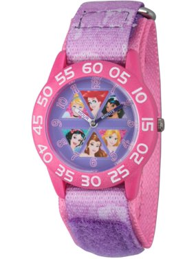 Princess Cinderella, Rapunzel, Ariel, Jasmine, Snow White and Belle Girls' Pink Plastic Time Teacher Watch, Purple Hook and Loop Stretchy Nylon Strap with Pink Backing
