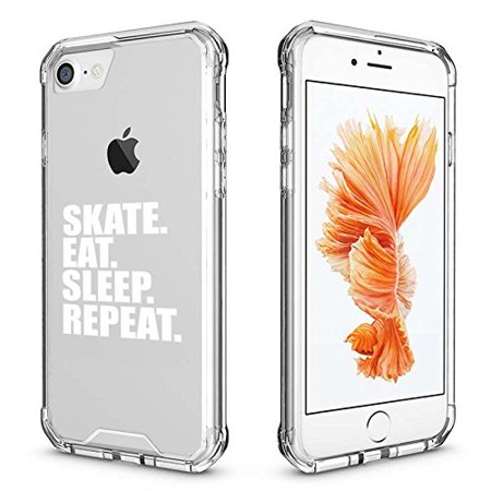 For Apple iPhone Clear Shockproof Bumper Case Hard Cover Skate Eat Sleep Repeat Ice Roller Skateboard (White for iPhone 7 Plus) Clear Roller Case