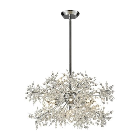 Eleven Light Chandelier with Faceted Crystal Beads  Polished Chrome Finish with Clear Crystal-Bailey Renaissance Eleven Light Chandelier