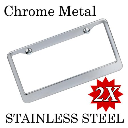 yaheetech 2pcs chrome stainless steel metal license plate frame tag cover screw caps - Metal License Plate Frames