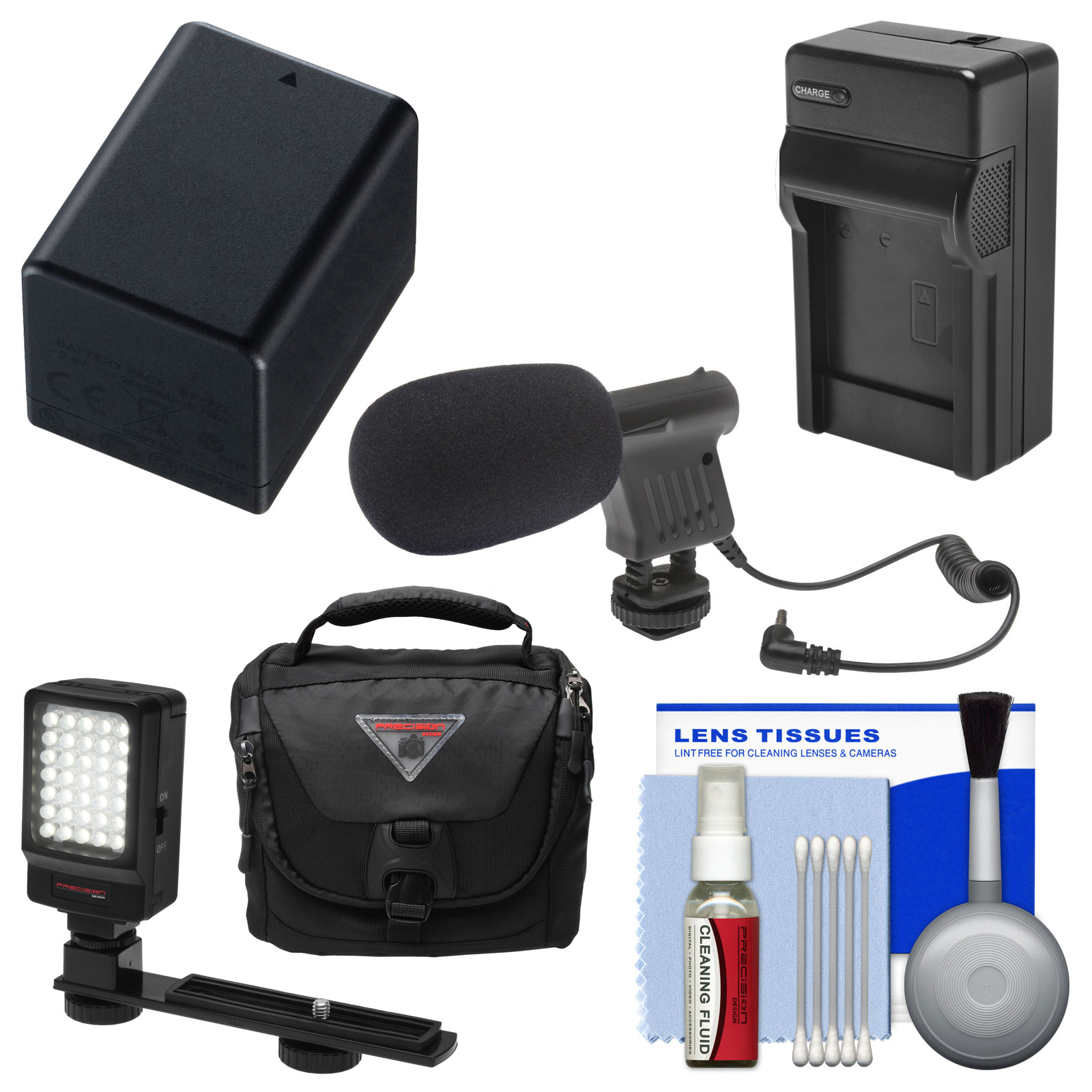 Essentials Bundle for Canon Vixia HF R60, R600, R62, R70, R700, R72 Camcorder with Case + LED Light + Microphone + BP-727 Battery & Charger + Cleaning Kit
