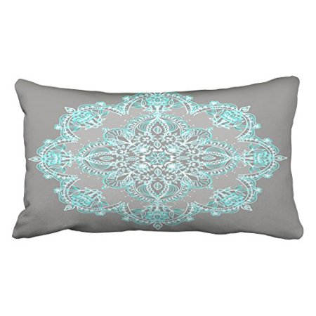 WinHome Decorative New Teal And Aqua Lace Mandala On Grey Cool Cover Zippered Home Producte Soft Pillowcase Size 20x30 inches Two Side