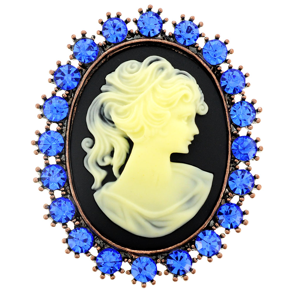 Blue Cameo Crystal Pin Brooch and Pendant by