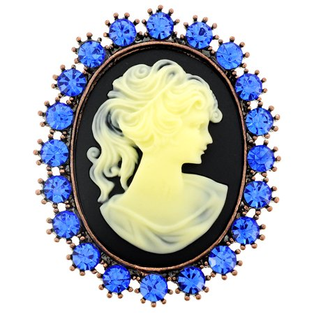 Blue Cameo Crystal Pin Brooch and