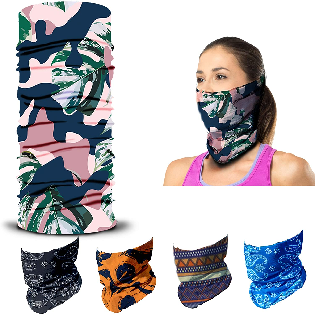 Headband HeadWrap Neck Gaiter Magic Scarf Face Mask Balaclava Headwear Sweatband for Camping Hiking Running