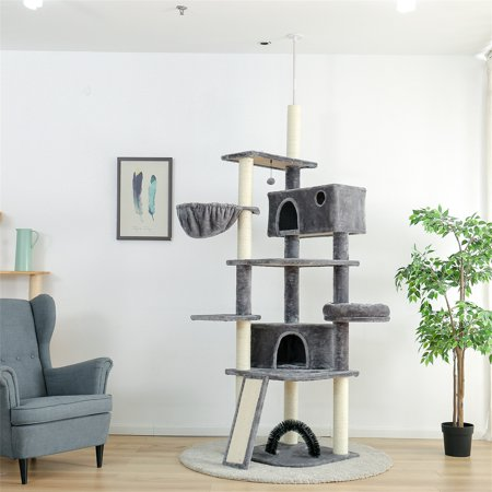 Romacci Multi-Level Floor to Ceiling Cat Tree Tall Cat Tower with Sisal-Covered Scratching Posts, 2 Super Large Condos, Adjustable Height 96-106 Inches