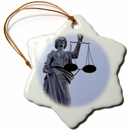 3dRose Scales of Justice, Courthouse, Kansas - US17 DFR0009 - David R. Frazier, Snowflake Ornament, Porcelain, 3-inch