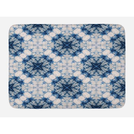 - Tie Dye Bath Mat, Tribal Tie Dye Technique Art Featured Odd and Hazy Forms in Symmetric Axis Design, Non-Slip Plush Mat Bathroom Kitchen Laundry Room Decor, 29.5 X 17.5 Inches, Blue Grey, Ambesonne