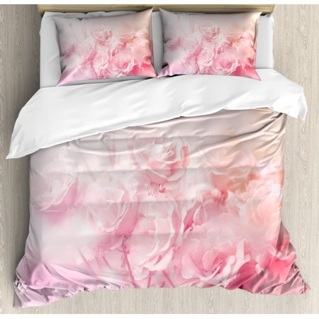 Theme Bedding Set - Rose Duvet Cover Set, Dreamlike Spring Nature Theme Blurry View Feminine Bouquets Gardening Bedding Plants, Decorative Bedding Set with Pillow Shams, Pale Pink, by Ambesonne