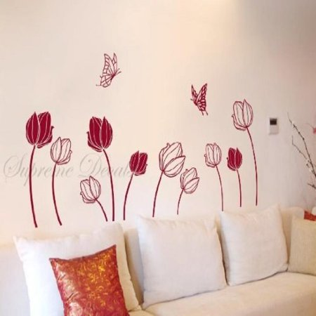 Custom Popdecals Erflies Catch Tulips Beautiful Tree Wall Decals For Kids Rooms S