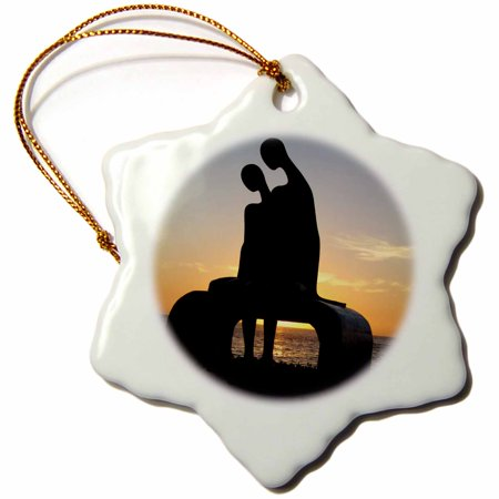3dRose Puerto Vallarta Malecon Figures on a Bench Statue Silhouetted Against Sunset - Snowflake Ornament, 3-inch