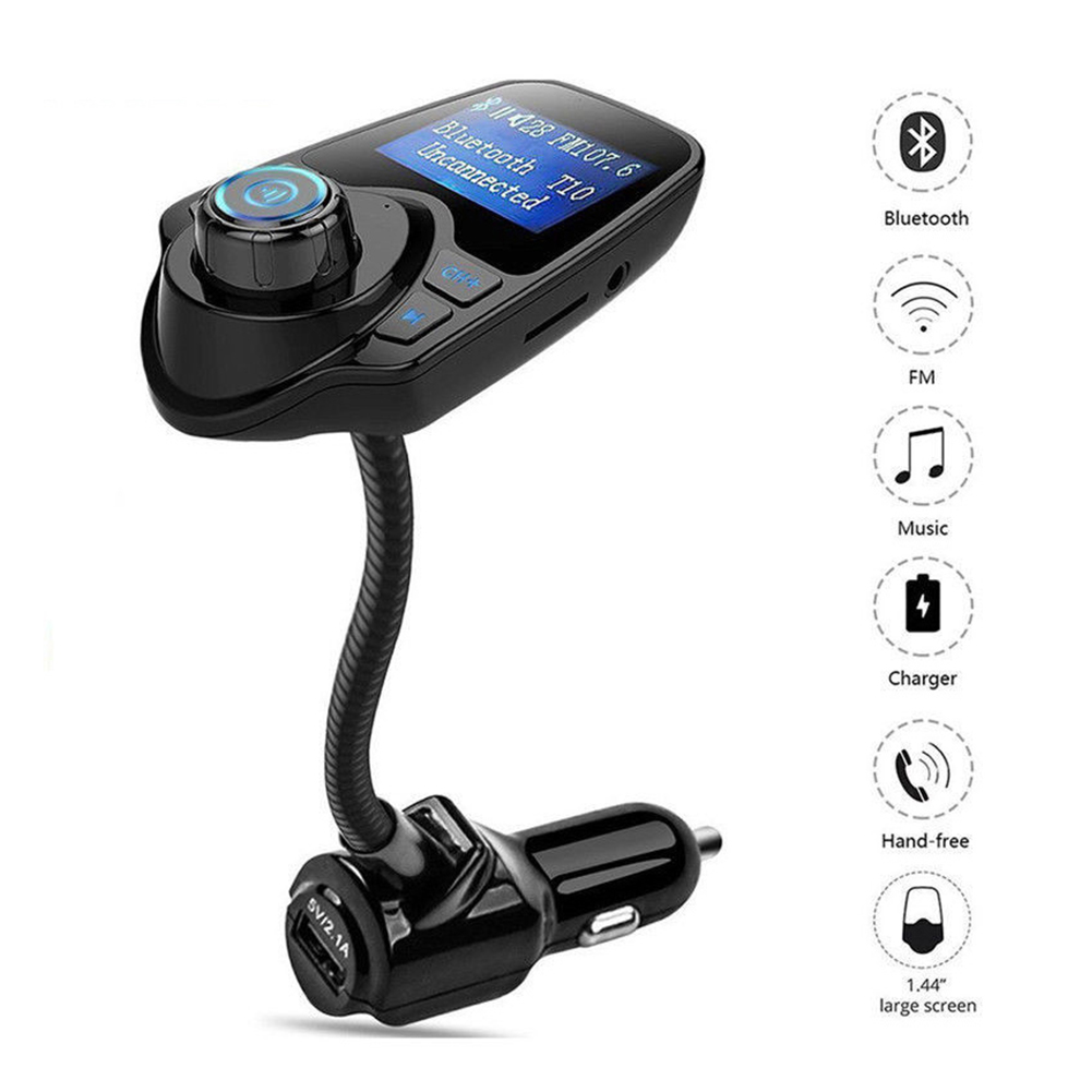 1.44 inch Display FM Transmitter Bluetooth Wireless Radio Adapter Audio Receiver Stereo Music Tuner Modulator Car Kit with USB Charger Hands Free Calling
