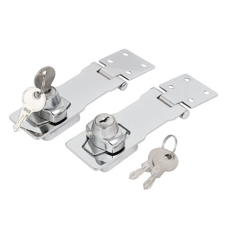 Uxcell 144mmx40mmx33mm Metal Screw Fixed Guard Keyed Hasp Latches Locks (2-pack)