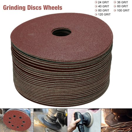 50Pcs Sanding Discs 115mm Fibre Sanding Grinding Discs Wheels 24 120 G