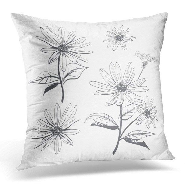 Arhome Black Daisy Drawing Flowers Chamomiles Daisies Jerusalem Artichoke Botanical Coloring Page On White Gray Pillow Cover 16x16 Inches Throw Pillow Case Cushion Cover Walmart Com Walmart Com