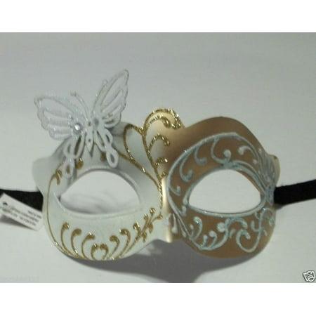 White Gold Butterfly laser cut  Mardi Gras Masquerade Mask](Masquerade Masks White And Gold)