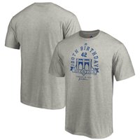 Brooklyn Dodgers Majestic 2019 Jackie Robinson Day 100th Birthday Callout Vintage T-Shirt - Heather Gray