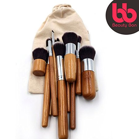 Professional Makeup Brush Set, 11-Pc Set with Comfortable Wood Handles Great for Precision Makeup, Contouring, Includes Free Case, By Beauty