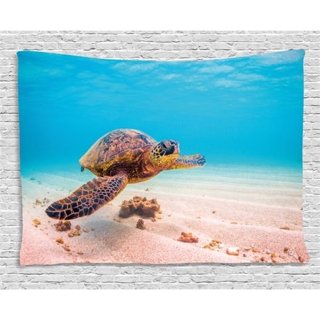 Turtle Tapestry, Hawaiian Green Sea Turtle Cruises in Warm Waters of the Pacific Ocean Photo, Wall Hanging for Bedroom Living Room Dorm Decor, 60W X 40L Inches, Aqua Cinnamon Brown, by