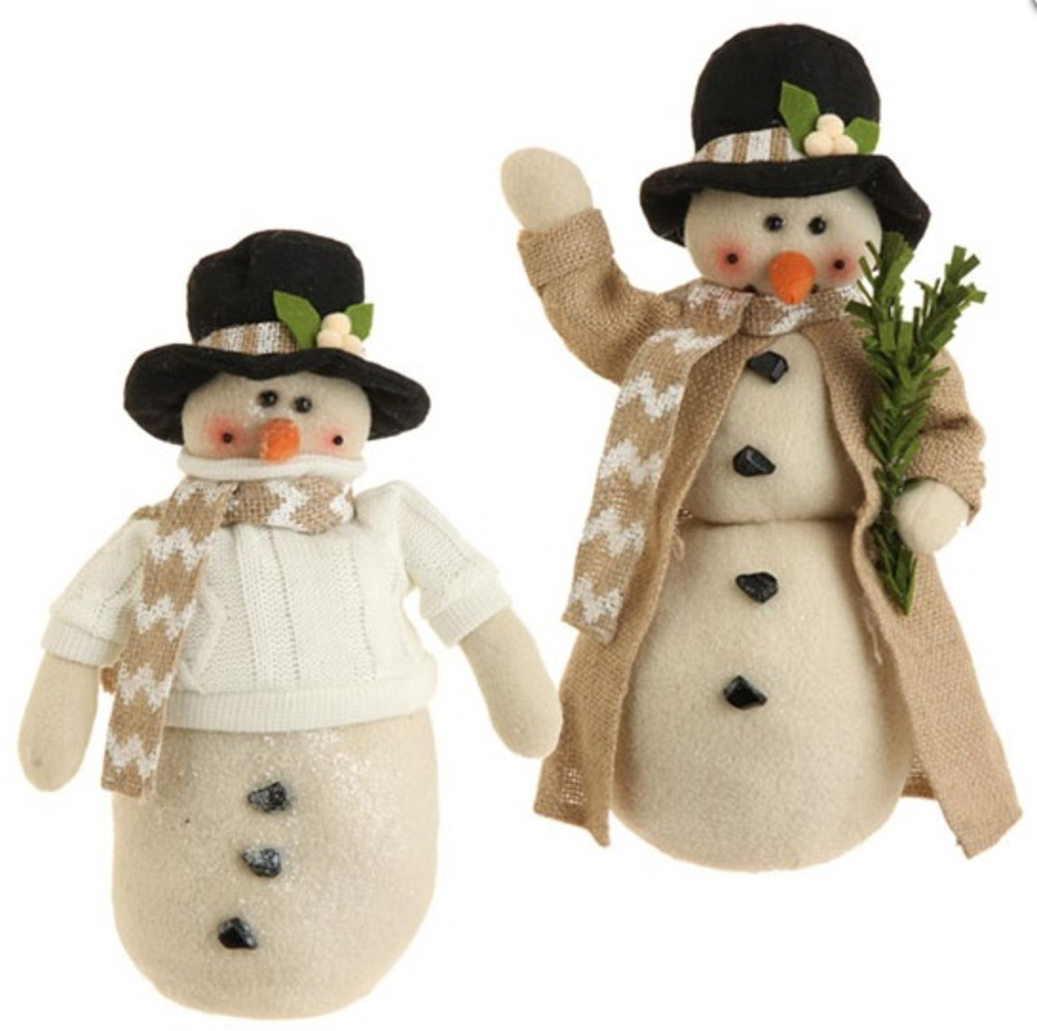 "13"" Snowy Time Tan Snowman with Black Hat Christmas Table Top Decoration"