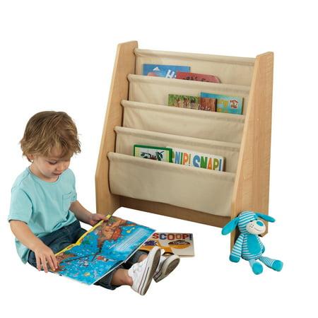 KidKraft KidKraft Wood and Canvas Sling Bookshelf Furniture for Kids – Natural
