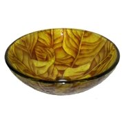 Glass Vessel Sink in Yellow and Brown