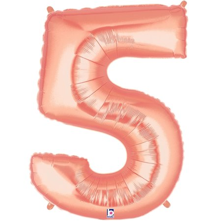 Giant Rose Gold Number 5 Foil Balloon 40