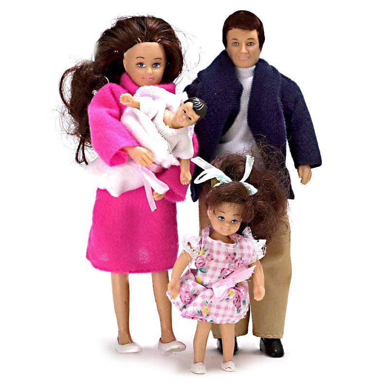 Modern Brunette Doll Family of 4 Dollhouse Miniature Set