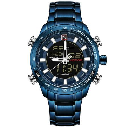 NAVIFORCE Luxury Dual Display Digital Quartz Men Watch Stainless Steel Luminous Sports Watch Chronograph Water-Proof Man Clock + Gift Box Black Chronograph Clock