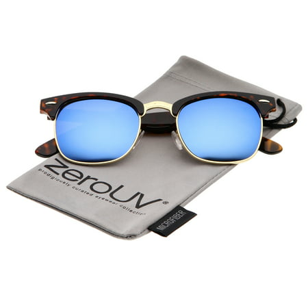 zerouv - premium half frame colored mirror lens horn rimmed sunglasses 50mm - 50mm zerouv - premium half frame colored mirror lens horn rimmed sunglasses 50mm (tortoise-gold / blue mirror)