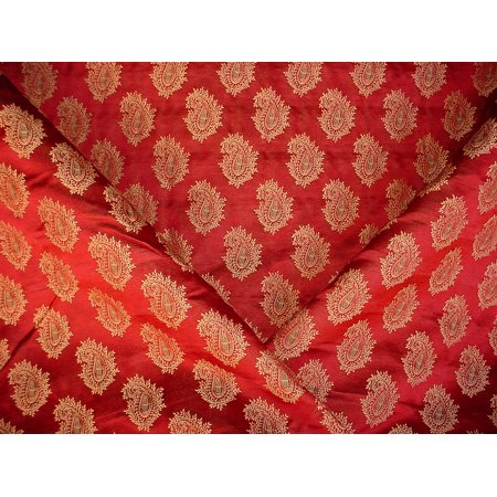 Wearbest Sil-Tex Embroidered Satin Silk Paisley Contract Designer Upholstery Drapery Fabric - By the Yard ()
