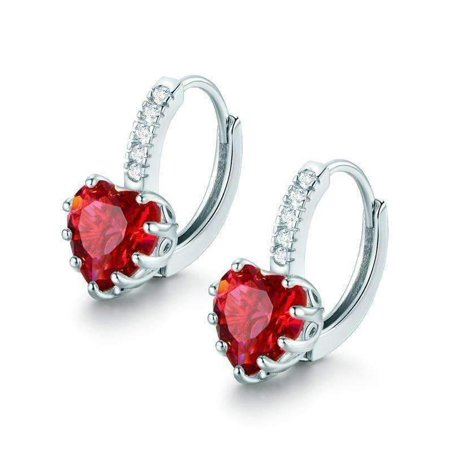- CLEARANCE - Heart Shaped Cabernet Red Diamond CZ Solitaire Hoop Earrings White Gold