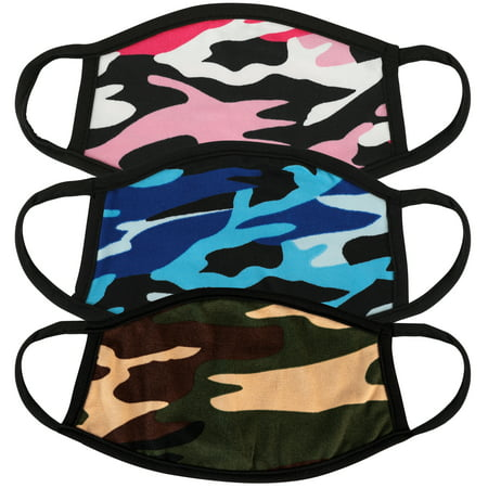 3 Pcs unisex Kids Size Camo Print Variety Pack Face Mask for Children Reusable Comfortable Washable Made In USA masks