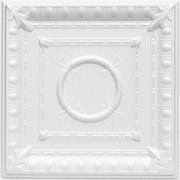 A la Maison Ceilings 1449 Romanesque Wreath- Styrofoam Ceiling Tile (Package of 8 Tiles), Plain White