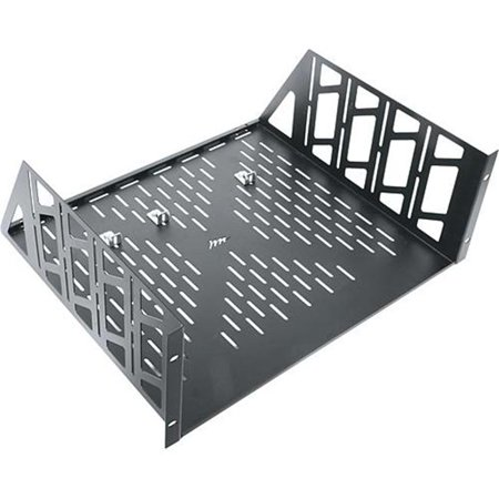 Middle Atlantic U4V 4U Vented Rackshelf The U4V from Middle Atlantic is a ventilated shelf that was designed to be installed into a standard 19  rack. It creates a storage surface large enough for objects up to 17-3/8  (44.13 cm) in width. Both the base and the sides of the U4V are vented to help keep equipment cool, and 3 rear brackets are included to prevent items placed on the shelf from sliding off the back.Construction: 16-Gauge Steel.Finish: Flat Black Powder Coated.Dimensions: 15.375 x 19 x 7  (390 x 483 x 178 mm).- SKU: CPTLSL1087