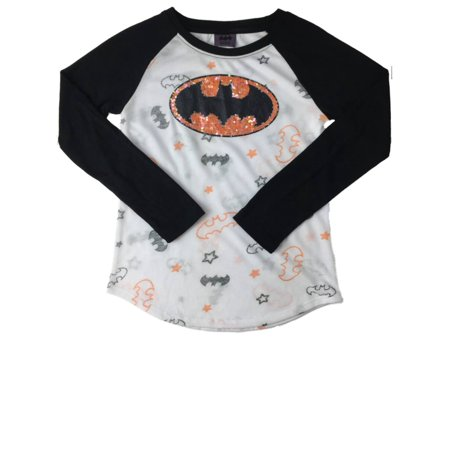 Batman Girls Sequin Black White & Orange Glitter Bats & Stars Baseball T-Shirt - Batman Girl