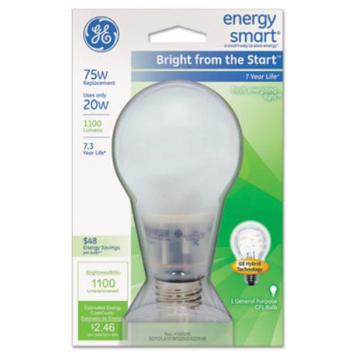 Image of Ge Energy Smart Bright From The Start Cfl 20 Watt A21 1-pack - 20 W - 110 V Ac - A21 Size - Soft White - E26 Base - 6800 Hour - 4400.3;f [2426.8;c] Color Temperature - 82 Cri - (63504 40)