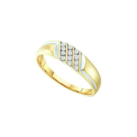 10kt Yellow Gold Mens Round Channel-set Diamond Diagonal Triple Row Wedding Band 1/8