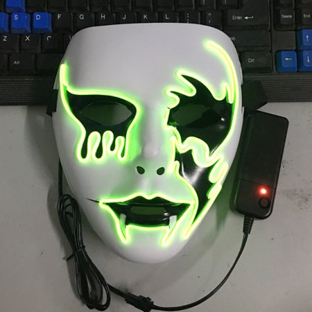 Luminous EL Wire Mask Halloween Light Up Cosplay Mask Creative Death Grimace Masks for Festival Costume Party Show Style:Death Grimace - Halloween Block Party Tv Show