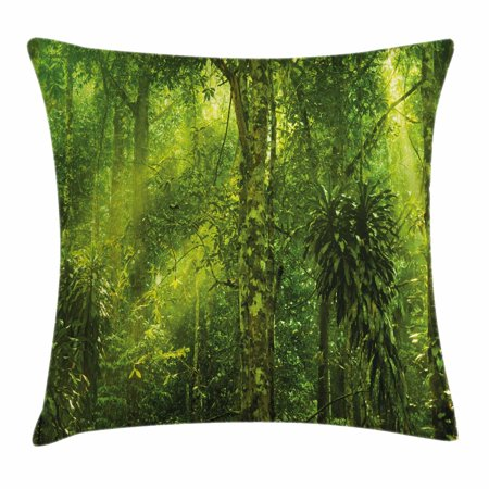 Plant Throw Pillow Cushion Cover, Tropical Tranquil Place with lots of Green Trees Earthly Places Untouched Jungle, Decorative Square Accent Pillow Case, 18 X 18 Inches, Apple Green, by Ambesonne ()