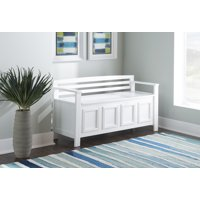 Linon Laredo Storage Bench, White, 18 inch Seat Height
