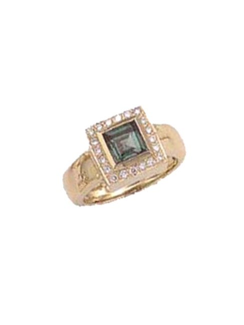 14k Gold Green Tourmaline Diamond Ring (1.05.cts.tw) by SQGTDR1209
