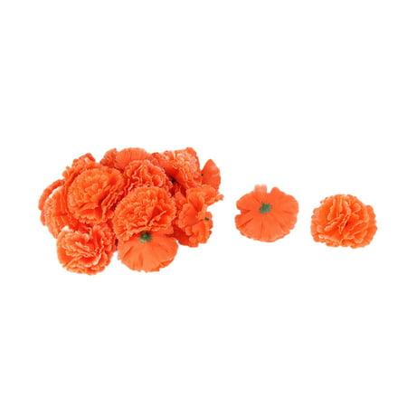 Wedding Fabric Artificial Carnation Flower Heads DIY Craft Decor Orange 20pcs - Fabric Flower