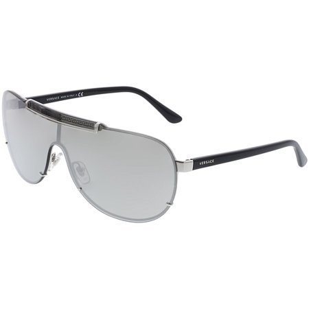 Versace Men's Mirrored VE2140-10006G-40 Silver Shield (Versage Sunglasses)