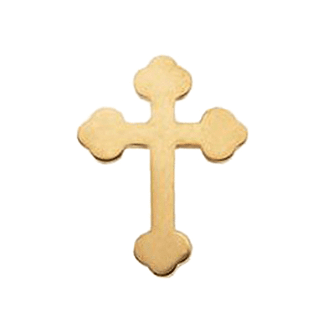 14K Yellow Gold Budded Cross Pin Brooch by