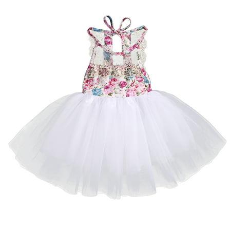 Infant Toddler Baby Girls Floral Sleeveless Evening Birthday Party Tutu Dress