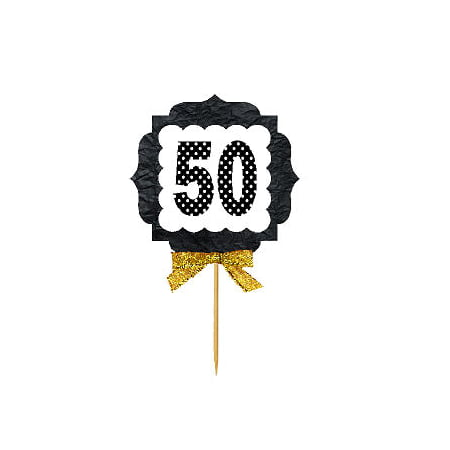 50th Birthday Novelties (50th Birthday / Anniversary Gold Ribbon Hand Crafted Novelty Cupcake Decoration Toppers / Picks)