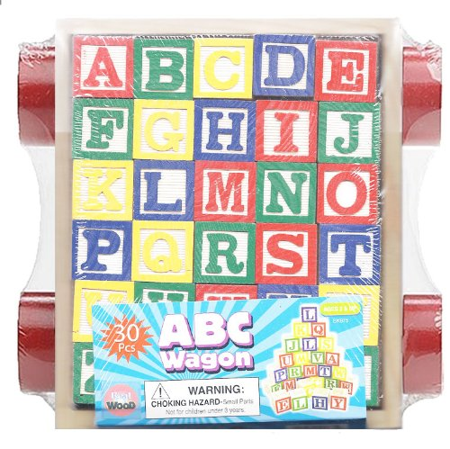 30 Piece ABC Stack N' Build Wagon Blocks with Learning Pictures Kids Toy by NM
